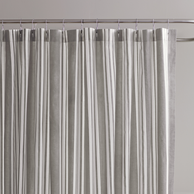Lochview Striped Cotton Single Shower Curtain