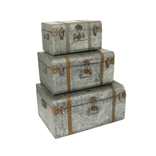 Diamond Galvanized Metal 3 Piece Decorative Trunk Case Set by EC World Imports