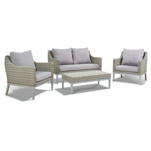 Chalmers 3 Piece Rattan Sofa Seating Group with Cushions