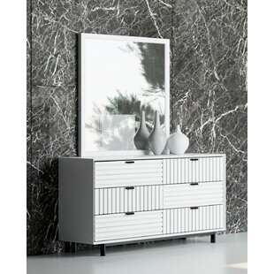 Arnett 6 Drawer Double Dresser with Mirror