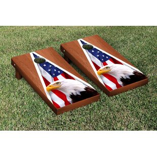 Victory Tailgate American Eagle USA Rosewood Stained Triangle No Mountain Version Cornhole Game Set