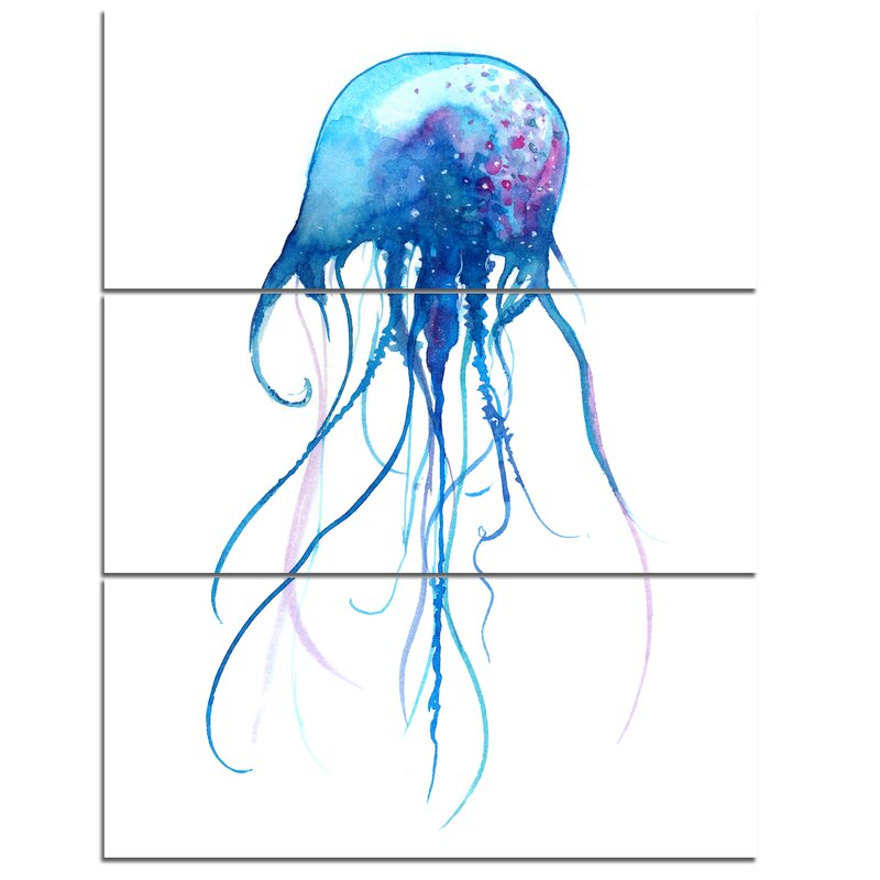 Designart Light Blue Jellyfish Watercolor 3 Piece Painting Print On Wrapped Canvas Set Wayfair