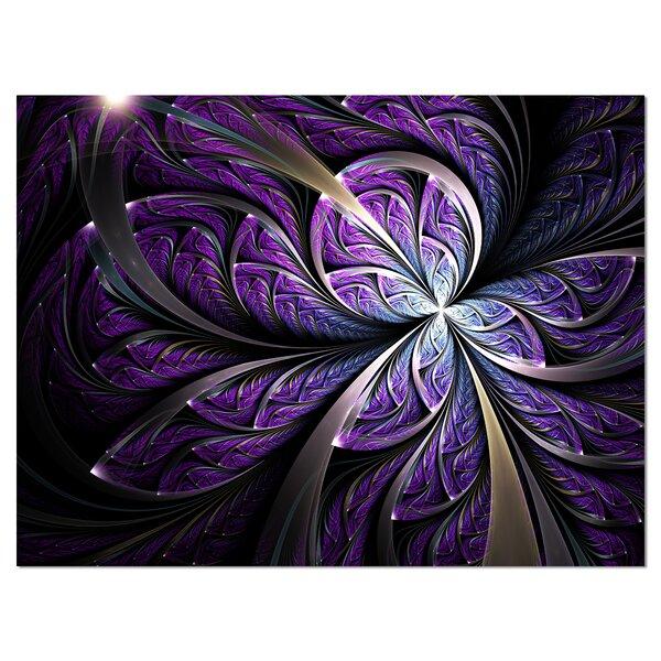 Designart Glittering Purple Fractal Flower Wrapped Canvas Graphic Art Reviews Wayfair Ca