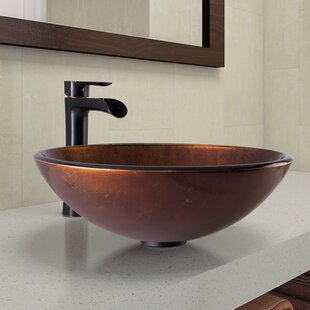 Reviews Tempered Glass Circular Vessel Bathroom Sink with Faucet By VIGO