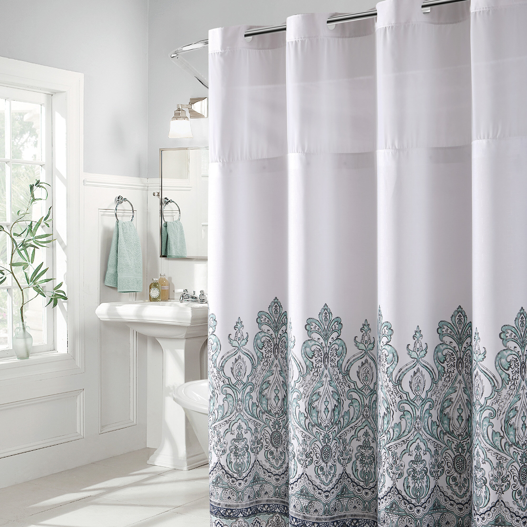 Bungalow Rose Pilning Damask Border Print Single Shower Curtain Reviews
