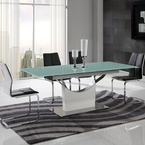 Pedestal Base Extendable Dining Table by Global Furniture USA