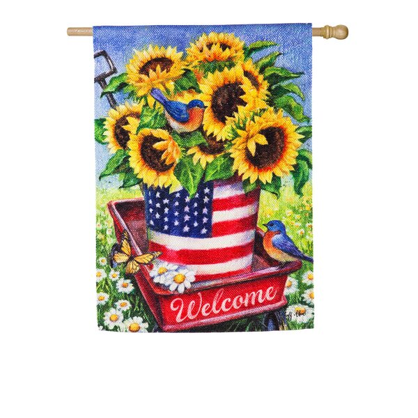 The Holiday Aisle Patriotic Sunflower Wagon House Textured 2 Sided Suede 43 X 29 In Garden Flag Wayfair