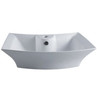 Bargain Courtyard Ceramic Rectangular Vessel Bathroom Sink with Overflow By Kingston Brass