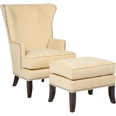 Transitional Wingback Chair And Ottoman