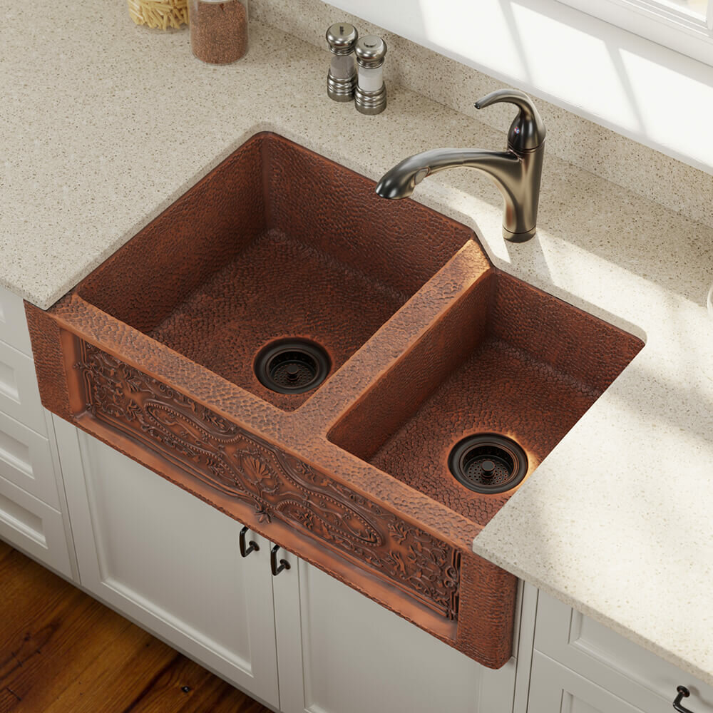 copper 33 l x 22 w double basin farmhouse apron kitchen sink with drain assembly