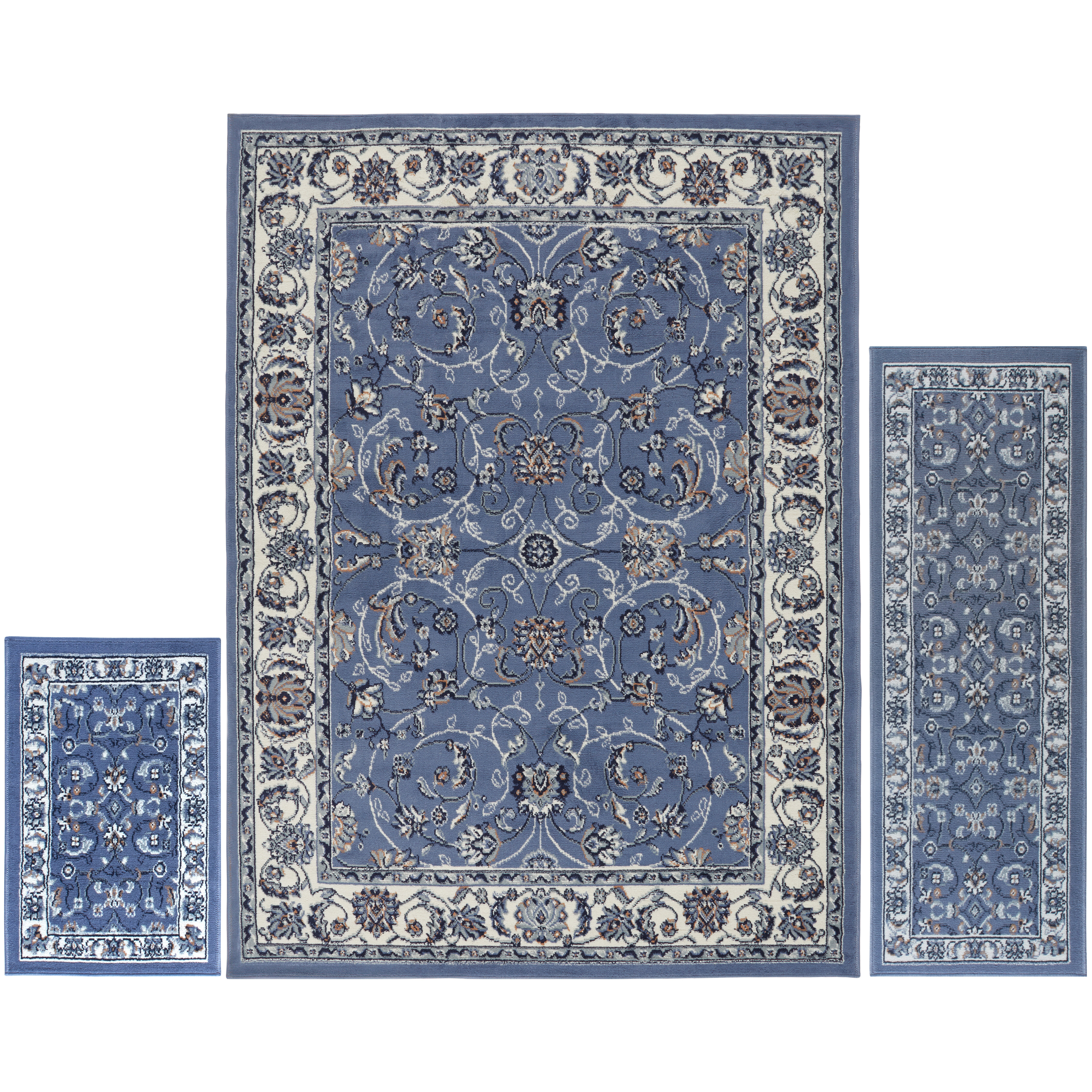 Charlton Home Gallaher 3 Piece Blue Area Rug Set Reviews Wayfair
