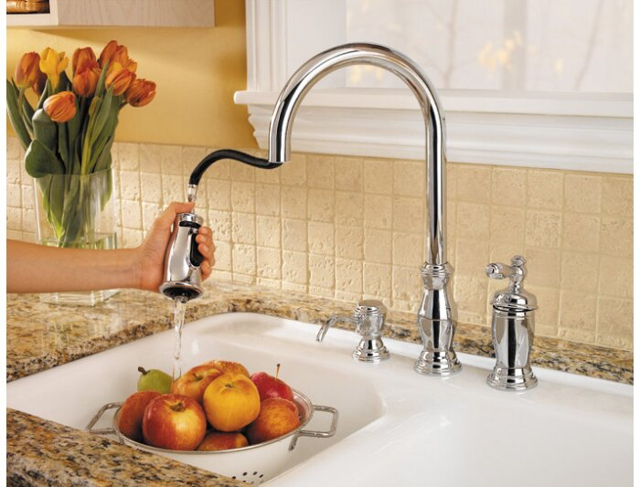 Hanover Pull Out Single Handle Kitchen Faucet With Soap Dispenser