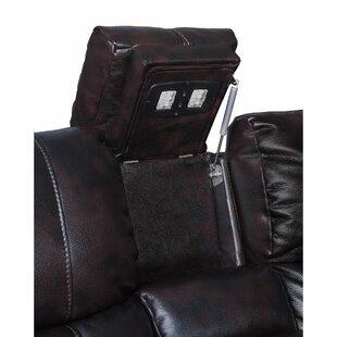 Red Barrel Studio Kranzo Wooden Motion Leather Loveseat