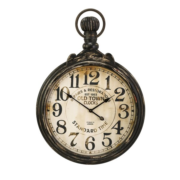 pocket watch wall clock darby home co oversized 27 5 quot pocket wall clock 11132