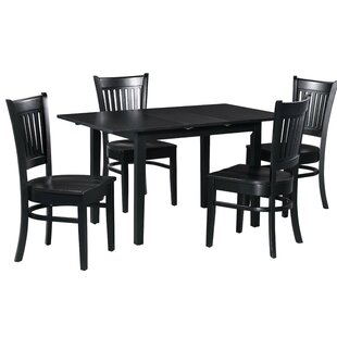 Spiller 5 Piece Extendable Solid Wood Dining Set by Winston Porter Read Reviews