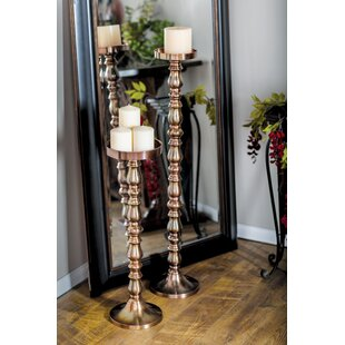 Traditional Pillar 2 Piece Metal Candlestick Set