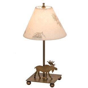 Lone Moose Pressed Flower 14 Table Lamp