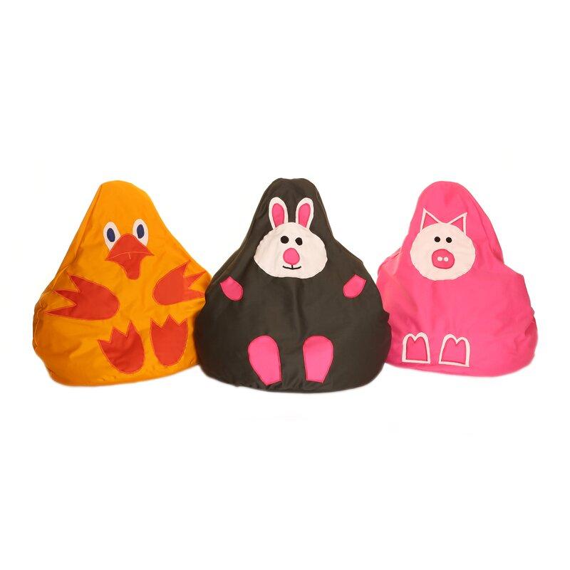 Full Of Beans 3 Piece Animal Friend Character Bean Bag Chair