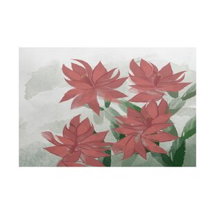 Read Reviews Amanda Christmas Cactus Floral Flatweave Coral/Green Outdoor Area Rug By August Grove