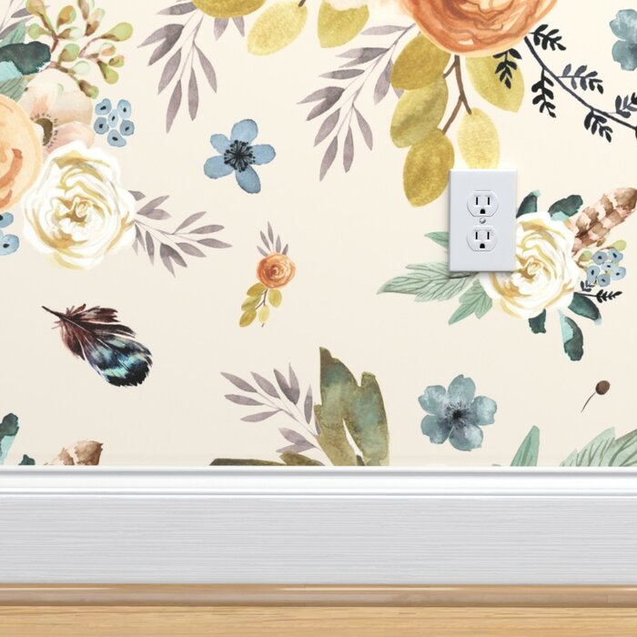 Suresh Boho Floral Removable Wallpaper Roll