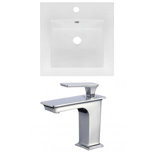 American Imaginations 1 Hole Ceramic Square Drop-In Bathroom Sink with Faucet