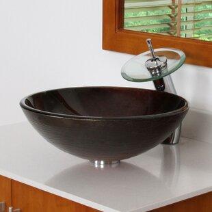 Elite Neutral Handcrafted Glass Circular Vessel Bathroom Sink
