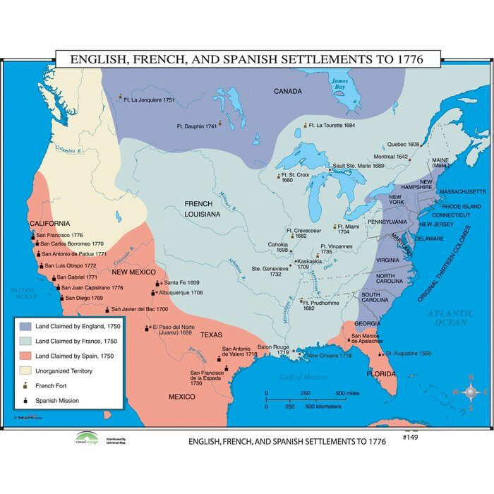Universal map world history wall maps english french spanish world history wall maps english french spanish settlements to 1776 publicscrutiny Gallery