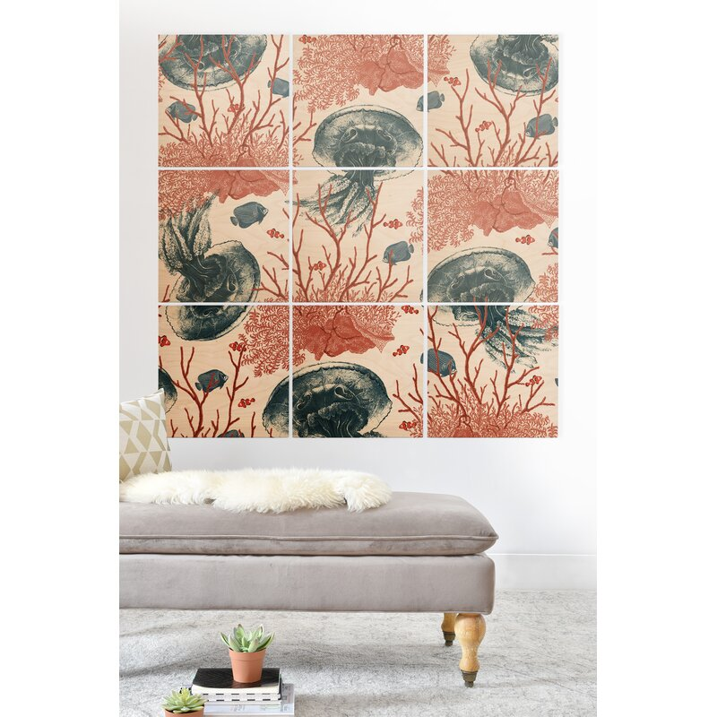 East Urban Home Coral And Jellyfish Graphic Art Print Multi Piece Image On Wood Wayfair