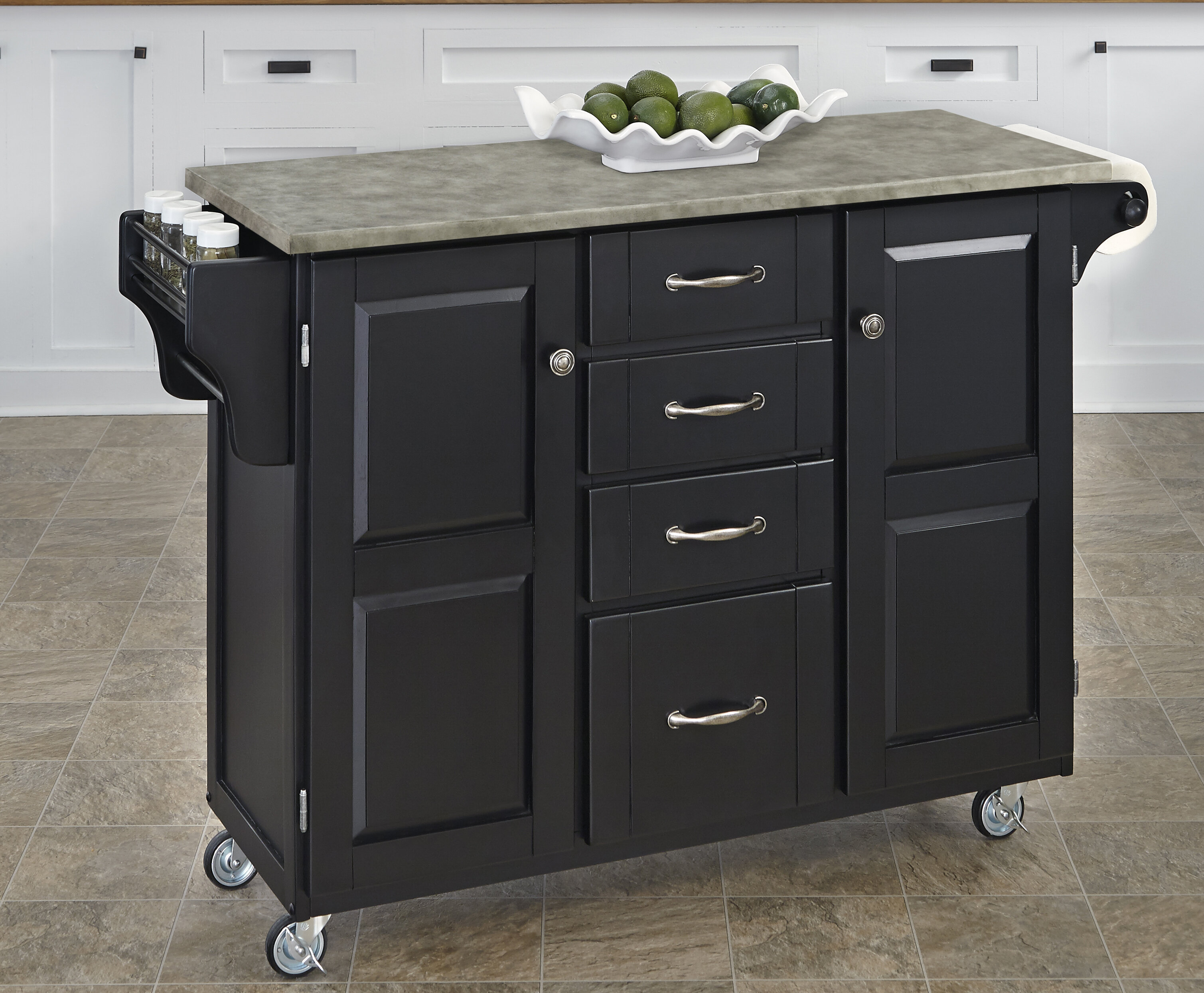 Home Styles Create A Cart Kitchen Island With Concrete Top U0026 Reviews |  Wayfair