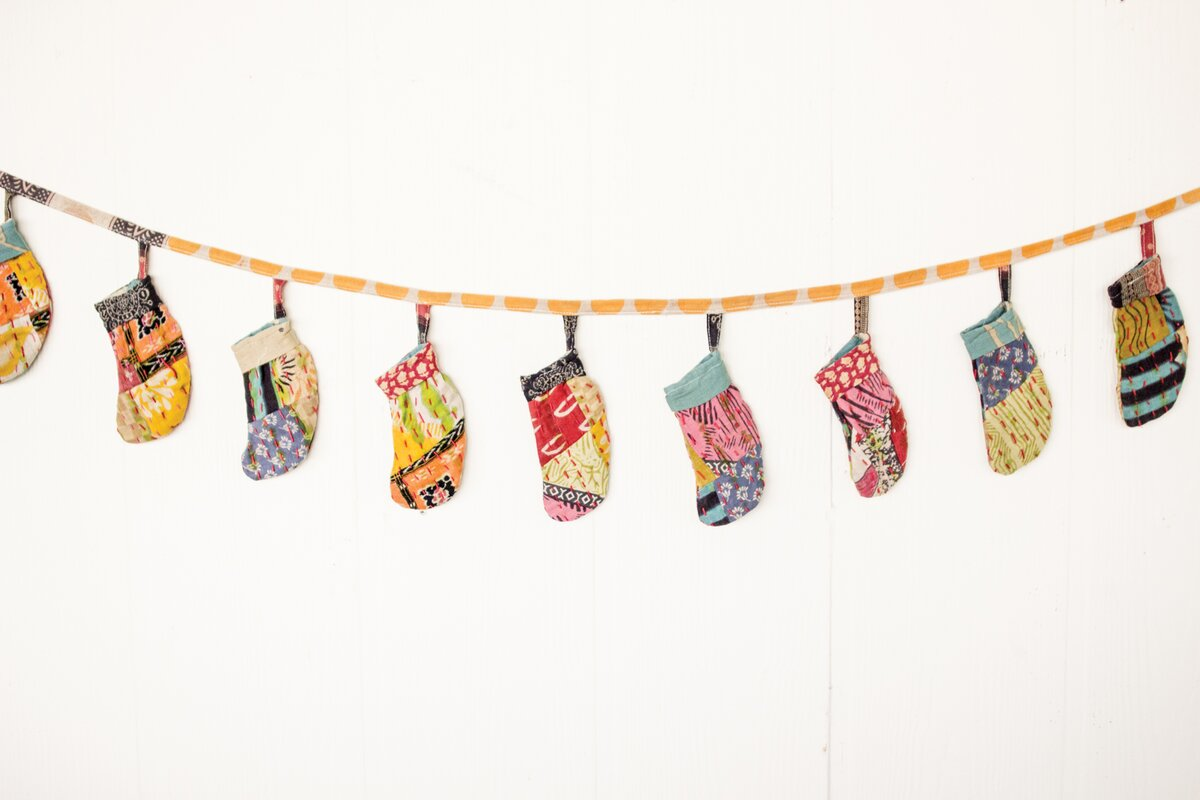 Vintage Kantha Christmas Stocking Garland