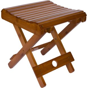 Cherina Bamboo Folding Stool For Shaving Shower And Footrest