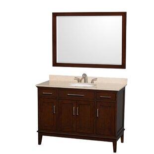 Read Reviews Hatton 48 Single Dark Chestnut Bathroom Vanity Set with Mirror ByWyndham Collection