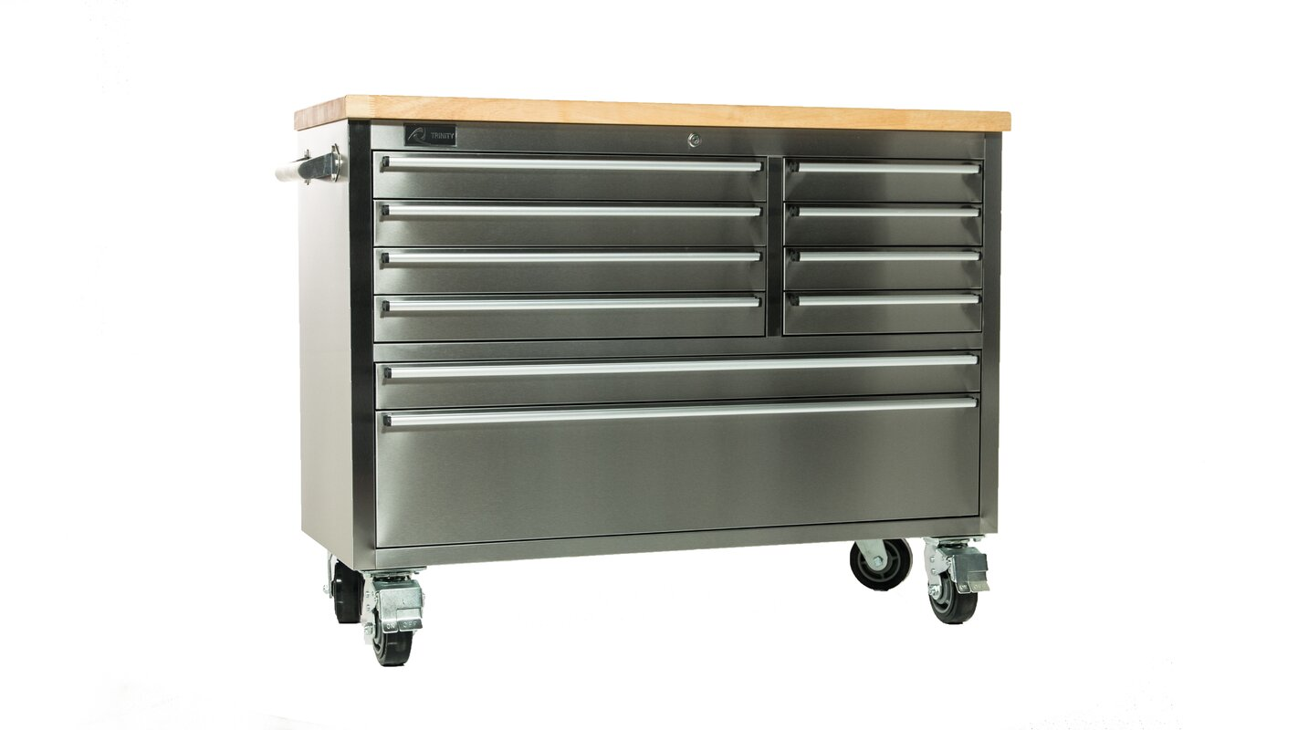 Trinity Stainless Steel Rubberwood 48 Quot Wide 8 Drawer