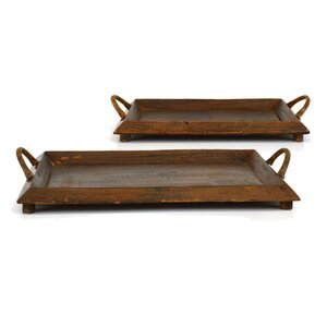 2 Piece Wooden Tray