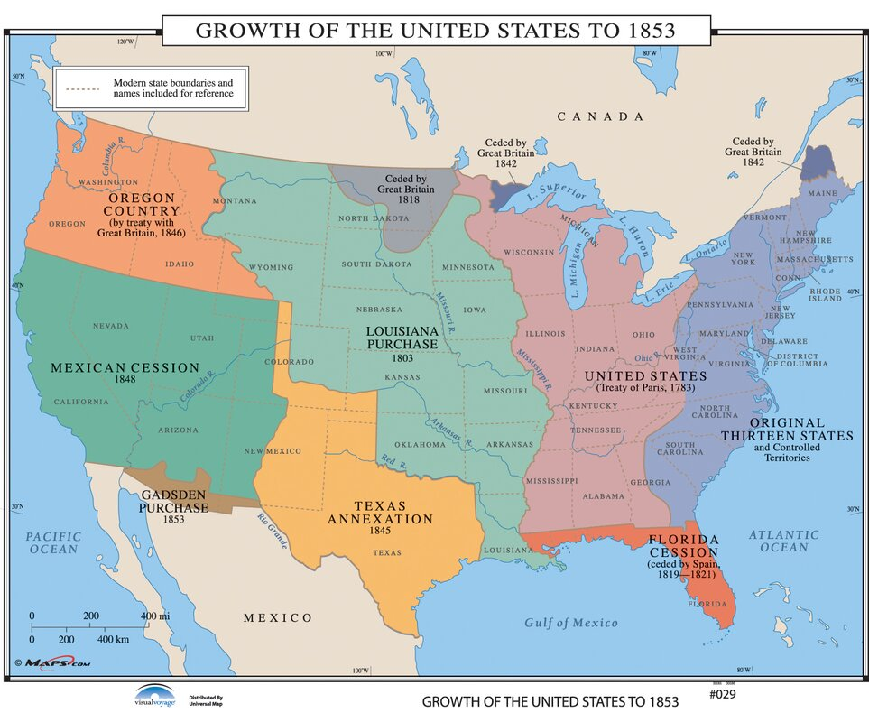 Universal Map US History Wall Maps Growth of US to 1853
