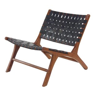 Veatch Rustic Mahogany Wood and Leather Lounge Chair by George Oliver