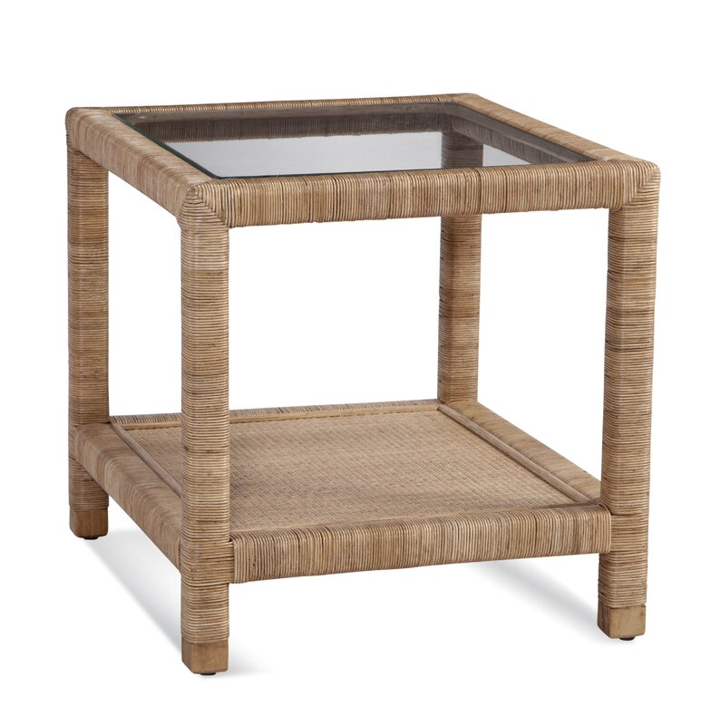 Braxton Culler Pine Isle Glass Top End Table with Storage