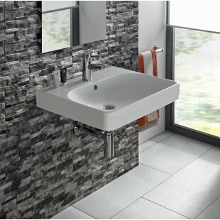 Smyle Vitreous China 24 Wall Mount Bathroom Sink with Overflow Bissonnet