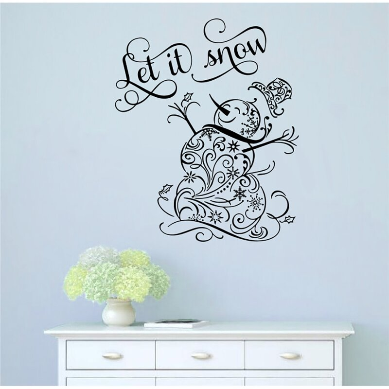 The Holiday Aisle Let It Snow Snowman Vinyl Words Wall Decal Wayfair