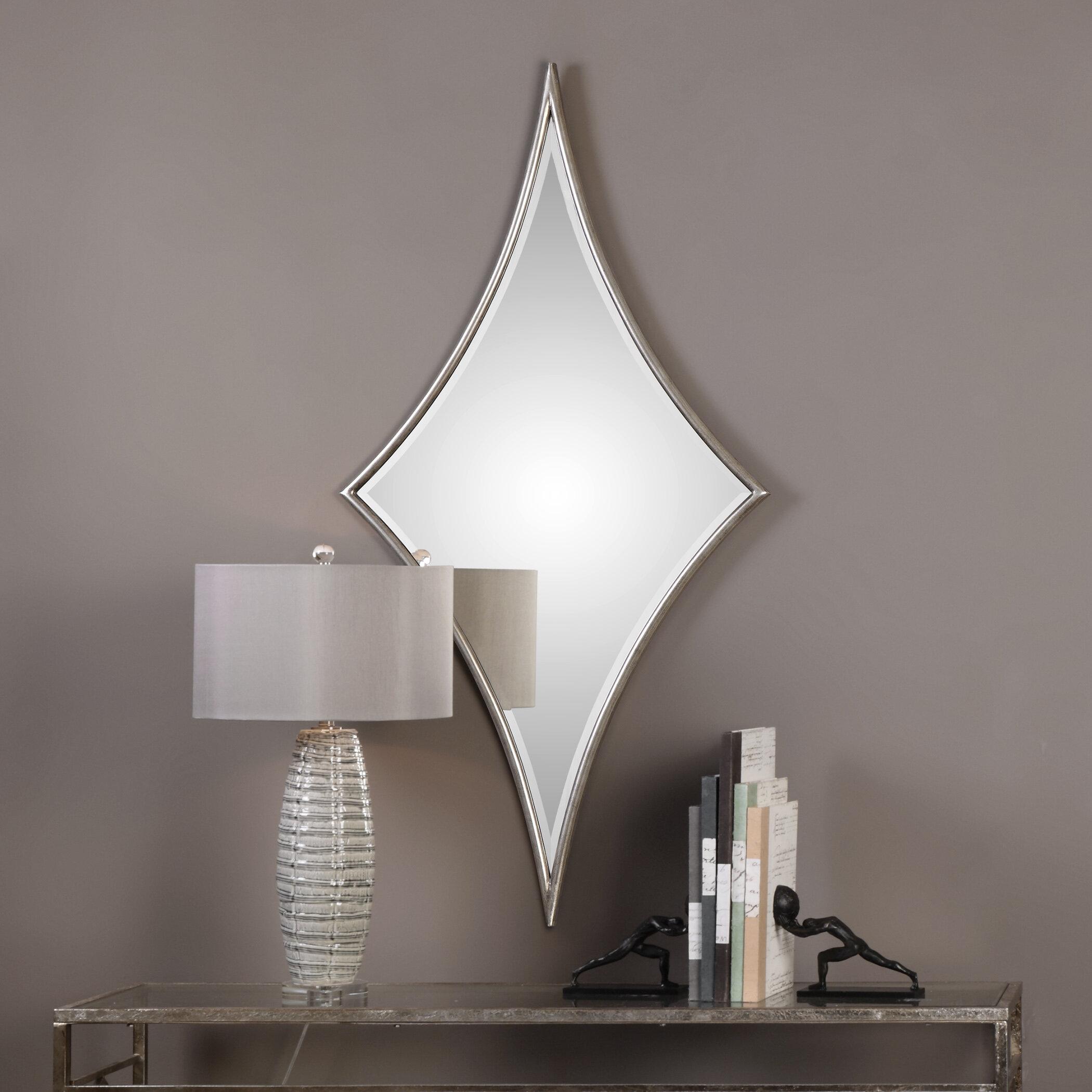 House Of Hampton Diamond Silver Glam Beveled Wall Mirror