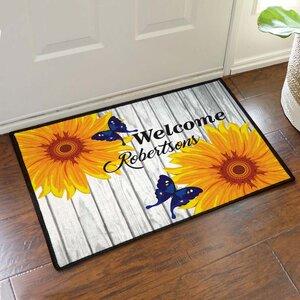 Custom Butterflies and Sunflowers Welcome Doormat
