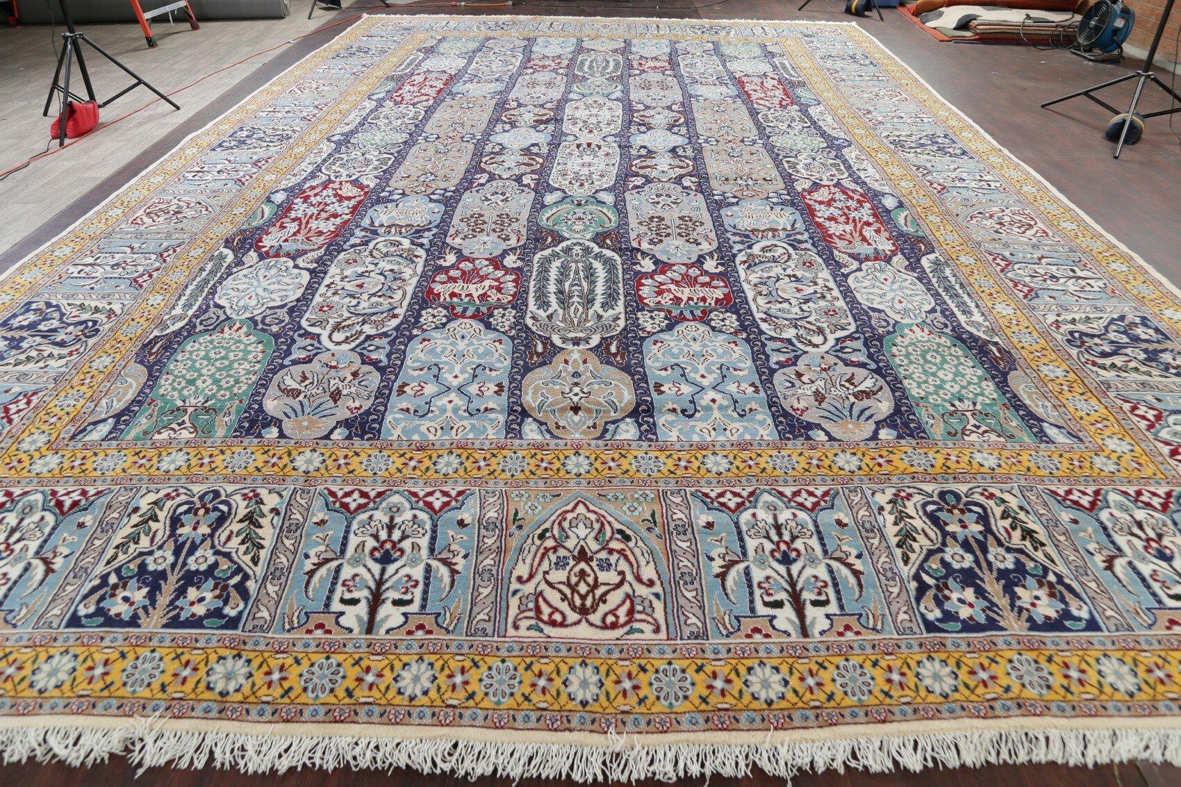 Animal Pictorial Nain Extra Large Persian Rug Oriental Wool Silk Carpet 26 0 X16 1