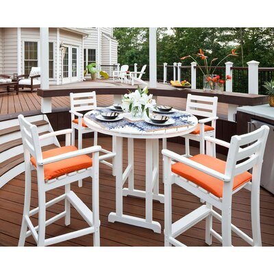Monterey Bay 5 Piece Bar Height Dining Set Trex Outdoor Color: Classic White