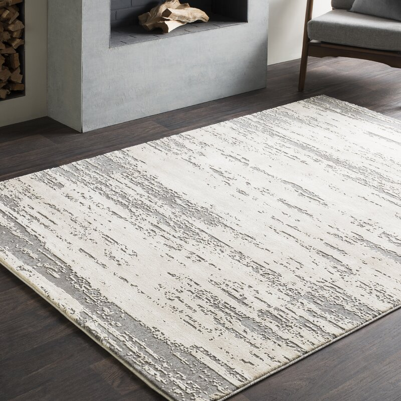 Plainville Distressed Modern Abstract Gray Cream Area Rug