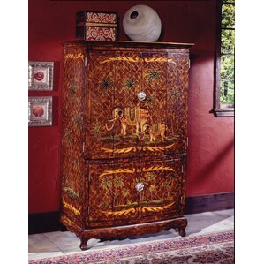 Hand-Painted TV Armoire by South Sea Rattan