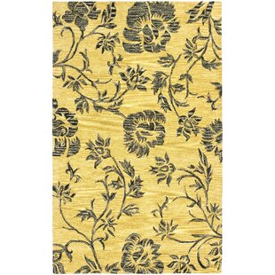 Marcello Hand-Tufted Wool Gold/Black Area Rug ByAlcott Hill