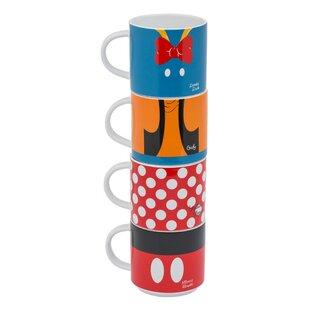 Disney Mickey and Friends Stacking 4 Piece Coffee Mug Set