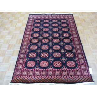 Read Reviews One-of-a-Kind Pellegrino Bokara Hand-Knotted Rayon from Bamboo Silk Black Area Rug ByBloomsbury Market