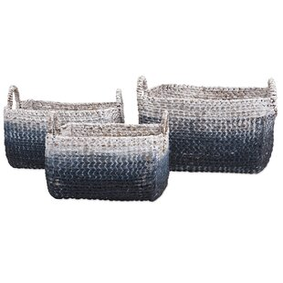 3 Piece Woven Water Hyacinth Basket Set