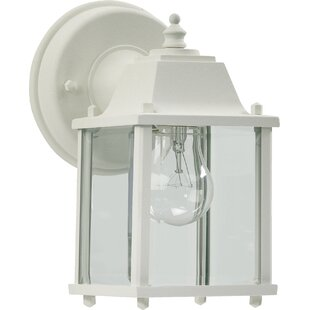 Mehar 1-Light Glass Shade Outdoor Wall Mehar By Beachcrest Home Outdoor Lighting
